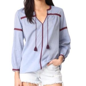 Joie Marlen Embroidered Chambray top, NWOT, XS